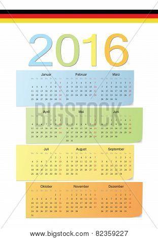 German 2016 Vector Color Calendar.