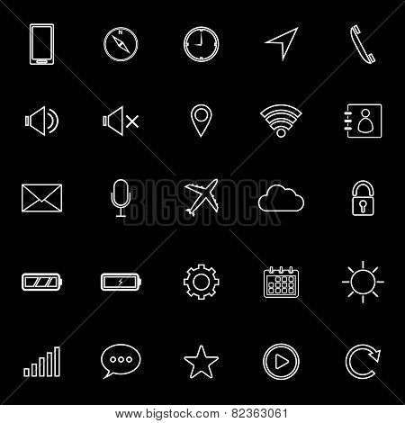 Mobile Phone Line Icons On White Background