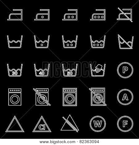 Laundry Line Icons On Black Background