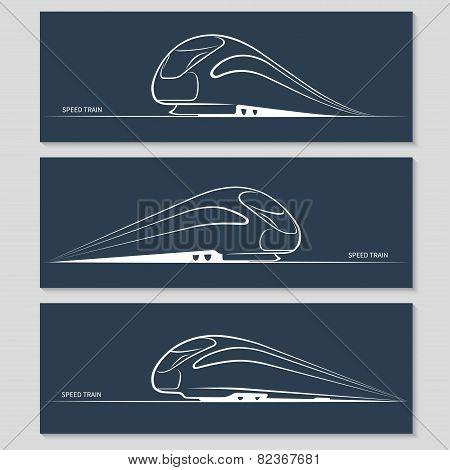 Set of modern speed train silhouettes