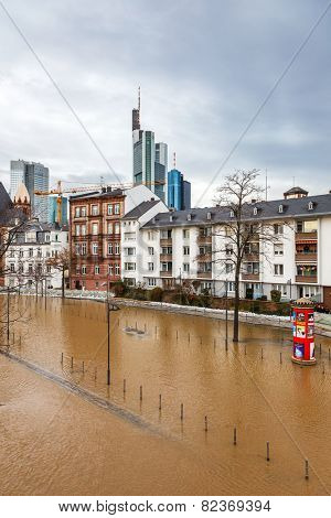FRANKFURT- JANUARY 15 2011: Flood in Frankfurt am Main due to extremely high water in Main river.