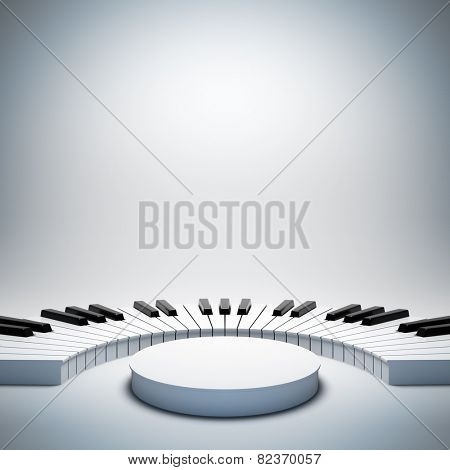 A 3d illustration of blank template layout of empty white jazz or classic music stage. Stage on poster is empty to place your text, logo or object.