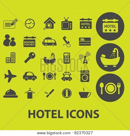 hotel, motel, room services icons, signs, illustrations set, vector