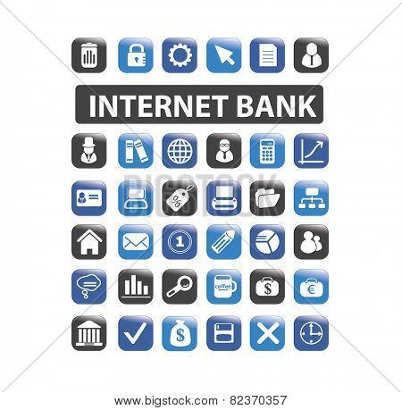 internet bank, finance icons, illustrations, signs set, vector