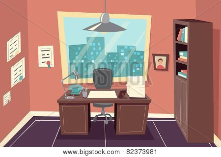 Stylish Business Working Office Room Background Desk City Window File Cabinet Retro Cartoon Design T