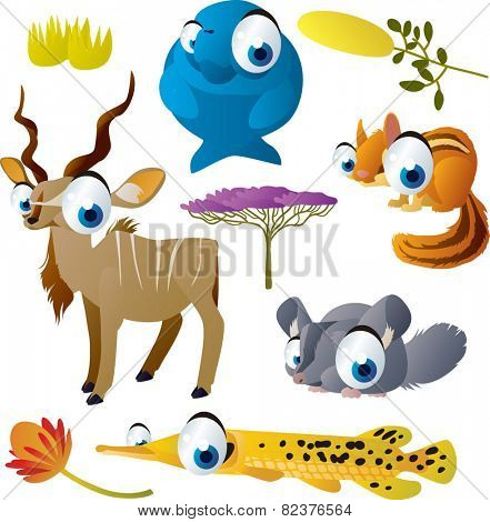 Cute cartoon vector big eyes animal set : dugong, kudu, chipmunk, chinchilla, gar