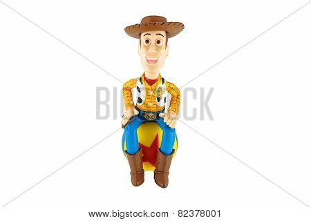 Sherrif Woody Toy On Red Star Ball A Fictional Character In The Toy Story Franchine.