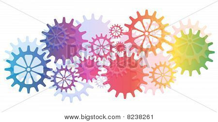 Mechanical Vector Background with Gears and Cogs.