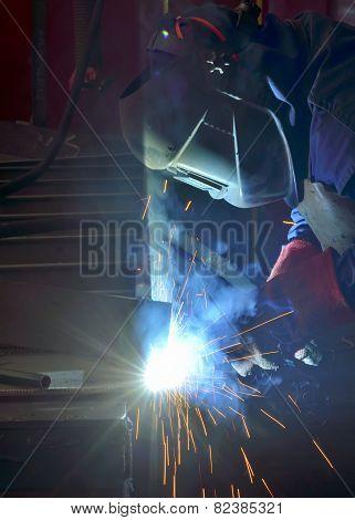 Welder With Protective Mask Welding
