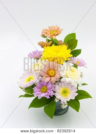 Colorful Flower Bouquet Arrangement In Vase Isolated On White Background