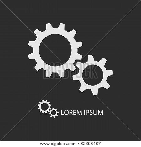 White gear wheels as logo on dark grey