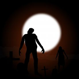 Zombies Walking In A Dark Grave Yard