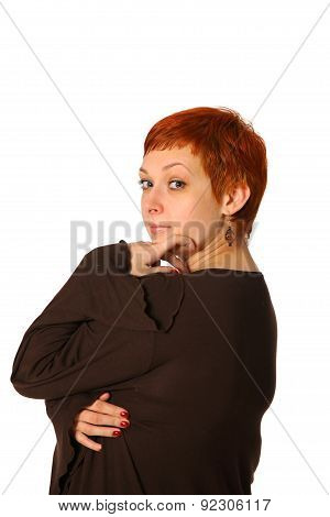 pensive woman with red hair