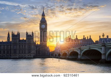 Famous Big Ben At Sunset