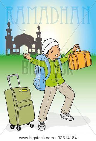 Asian muslim boy homecoming