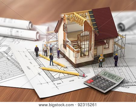 House With Open Interior On Top Of Blueprints, Documents And Mortgage Calculations And Builbers. Con