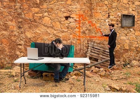A bearish chart being drawn with graffiti on a ruin wall a financial crisis concept poster