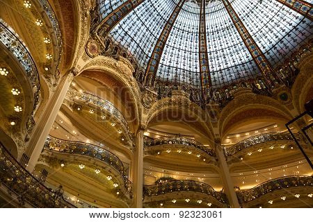 Galeries Lafayette interior in Paris.