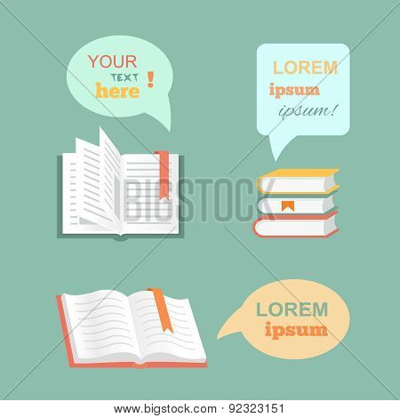 Vector open  book with speech bubbles clouds in flat design style.  Paper literature