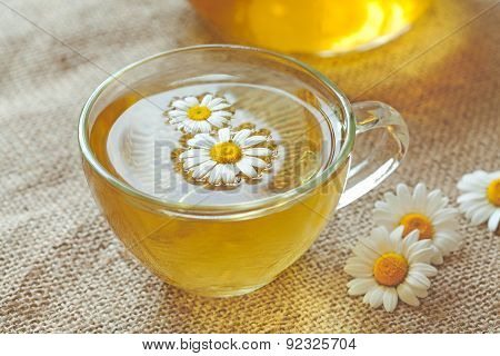 Chamomile tea herbal alternative medicine beverage in transparent cup with camomile flowers. Rustic