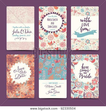 Vintage wedding romantic collection with 6 awesome cards made of hearts, flowers, wreaths and birds. Graphic set in retro style. Sweet save the date invitation cards in vector.
