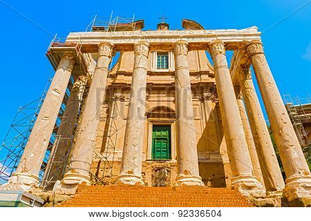 Roman Forum, Temple Of Antoninus And Faustina, Rome, Italy.