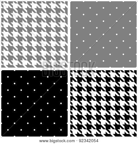 Tile grey, black and white vector pattern set with small polka dots and houndstooth