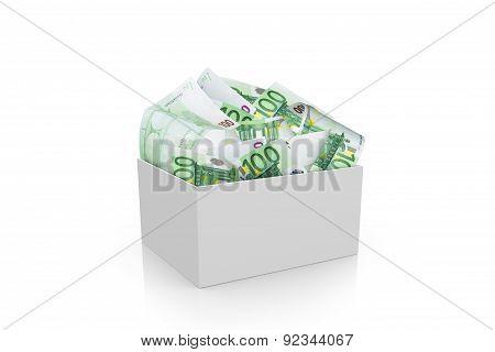 Full Of Euro Money In White Box