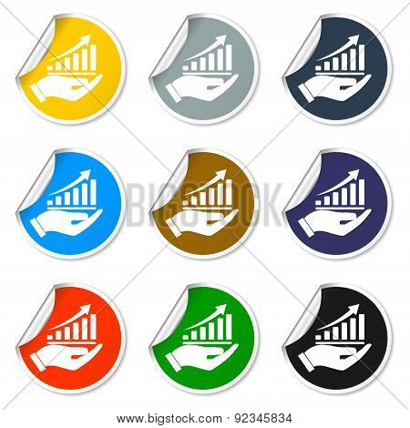 Chart Icon With Hand, Vector Illustration. Flat Design Style.