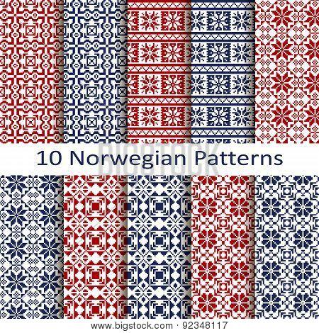 vector set of ten traditional norwegian patterns poster