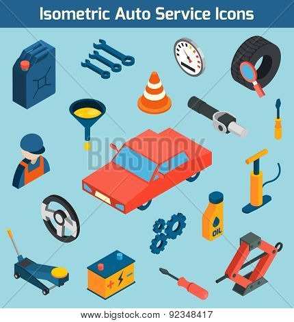 Auto service tools consumables and spare parts isometric icons set isolated vector illustration poster