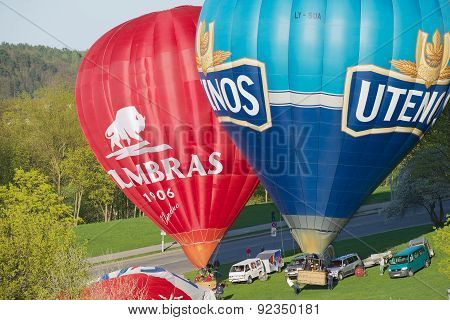 People prepare hot air balloons for the flight in Vilnius, Lithuania.