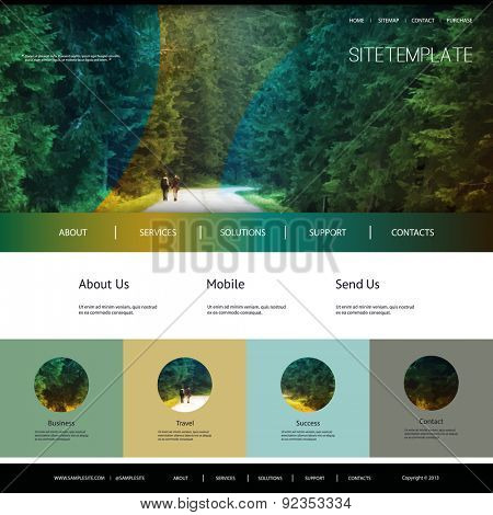 One Page Website Template with Header Design - Green Forest