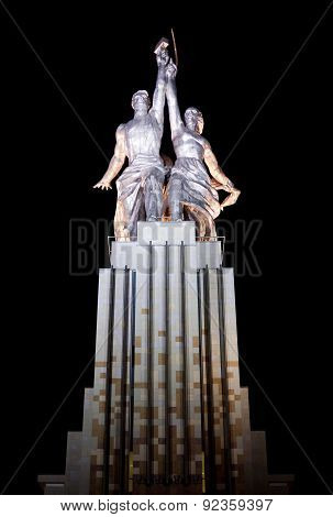 Moscow - August 13: Monument Of The Worker And Collective Farmer At Night August 13, 2011 In Moscow,