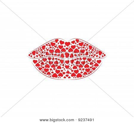 Lips Red Hearts
