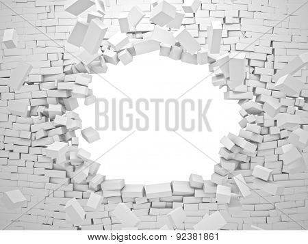 breaking wall brick 3d image