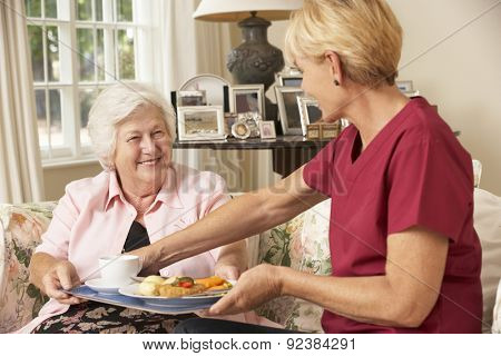 Helper Serving Senior Woman With Meal In Care Home poster