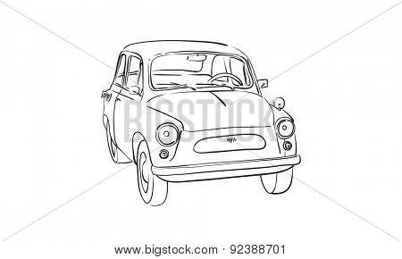 sketch of Soviet old-timer car