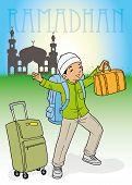 Indonesian muslim kid homecoming for Ramadhan celebration poster