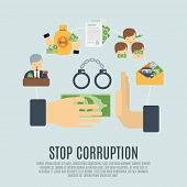 Stop corruption concept with bribe corrupt business flat icons set vector illustration poster