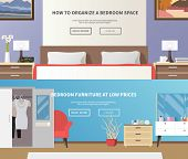Bedroom furniture horizontal banner set with flat interior elements isolated vector illustration poster