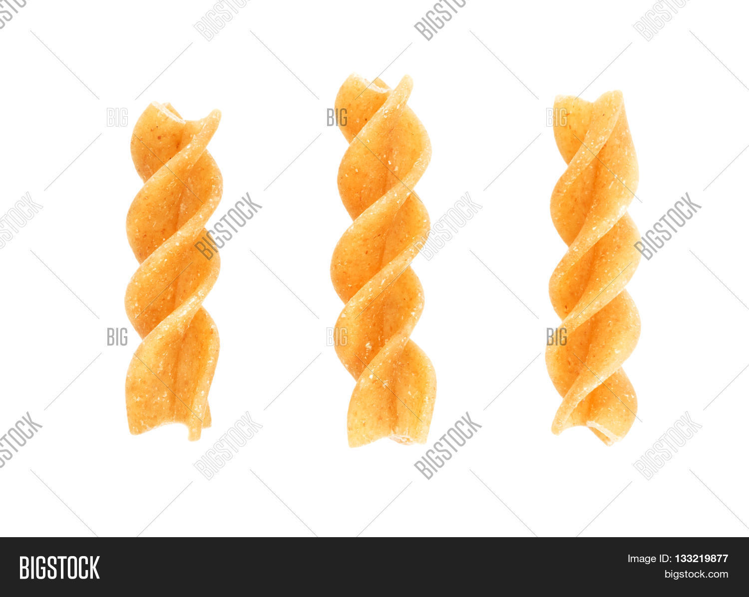 Set of three fusilli traditional italian pasta isolated on white background. Design element for bakery product label, catalog print, web use.