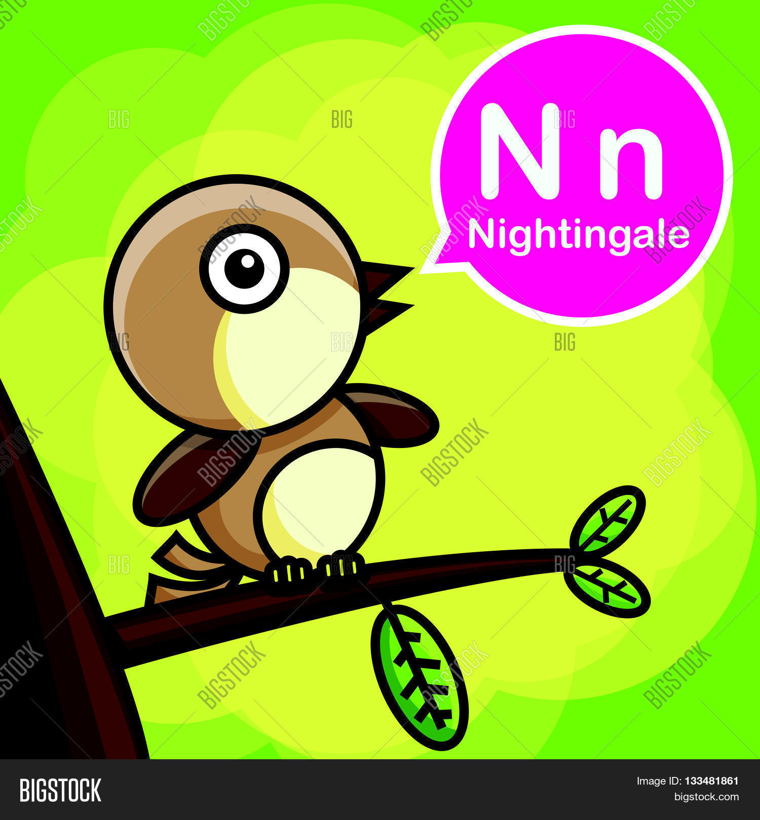 Image of: Kids Nightingale Animal Cartoon And Alphabet For Children To Learning Vector Illustration Eps10 Bigstock Nightingale Animal Vector Photo free Trial Bigstock