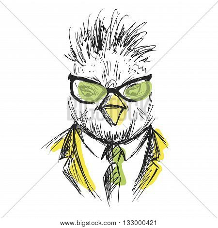Hand Drawn Fashion Portrait of chicken Hipster isolated on white background vector