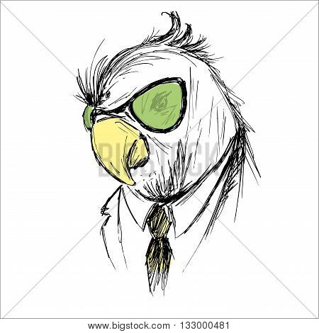 Hand Drawn Fashion Portrait of parrot Hipster isolated on white background vector