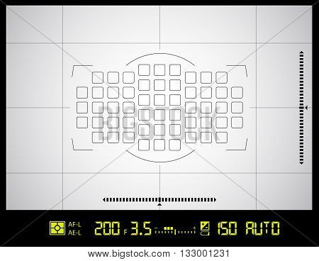 Photo or video camera viewfinder grid screen with AF dot, exposure and camera settings. Vector background
