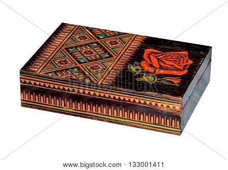 Wooden old casket in ukrainian folk style isolated