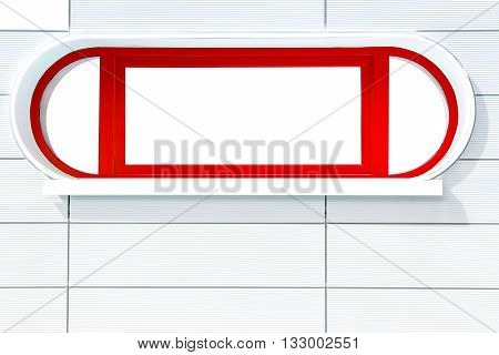 Red rounded futuristic porthole-liked window on white stripped wall at a sunny side