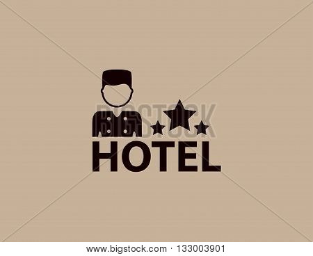 isolated concept hotel symbol with porter silhouette