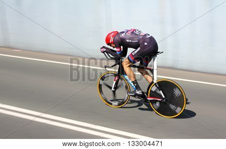 APELDOORN, NETHERLANDS-MAY 6 2016: Tobias Ludvigsson of pro cycling team Giant Alpecin during the Giro d'Italia prologue time trial.